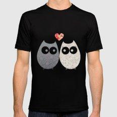 Owl Love Black Mens Fitted Tee MEDIUM