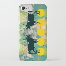 cows are dreaming of funky mountains iPhone 7 Slim Case