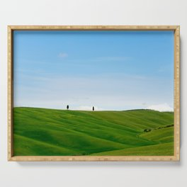 Beautiful spring minimalistic landscape with green hills in Tuscany countryside, Italy Serving Tray