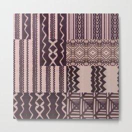 Patchwork Geometric Print in Black, Grey & White Metal Print