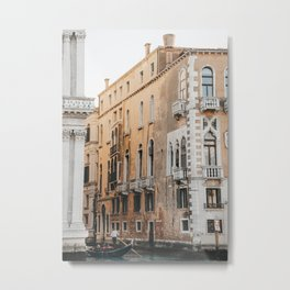 Orange Building of the Venice Canals, Italy | travel photography Italy European architecture | Saige Ashton travel prints Metal Print