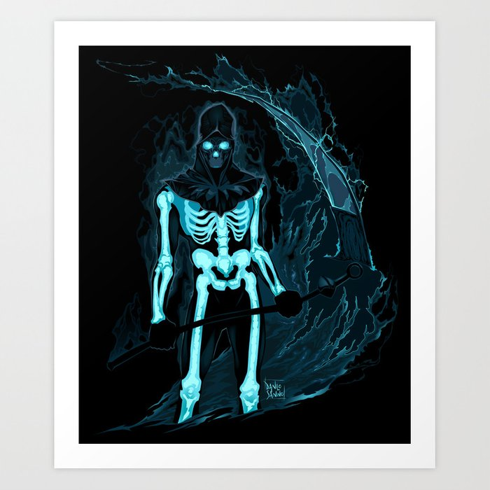Demon with a scythe in the fire Art Print
