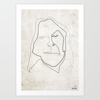 neil young Art Prints featuring One line Neil Young by quibe