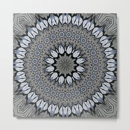 Greyscale abstract flowers in mandala Metal Print