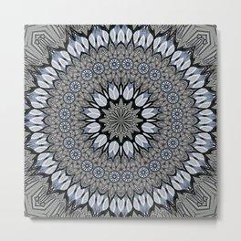 Greyscale abstract flowers in mandala Metal Print