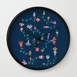 Multicolored folk-art florals Wall Clock