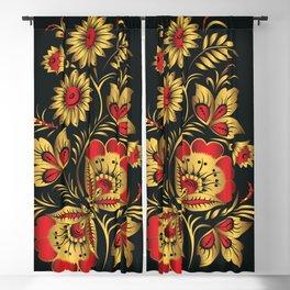 Golden russian folk Blackout Curtain