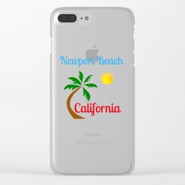 Newport Beach California Palm Tree and Sun Clear iPhone Case