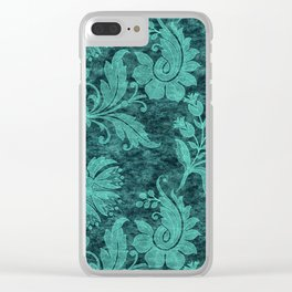 Burgundy Turquoise Velvet Floral Pattern 09 Clear iPhone Case