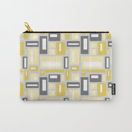 Simple Geometric Pattern in Yellow and Gray Carry-All Pouch