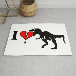 Warning! dinosaur eats heart Rug