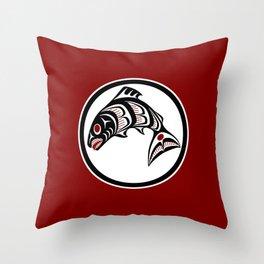 Northwest Pacific coast Haida art Salmon Throw Pillow
