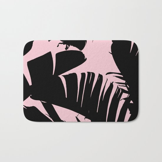 Unique Black and Pink Tropical Banana Leaves Pattern Bath Mat