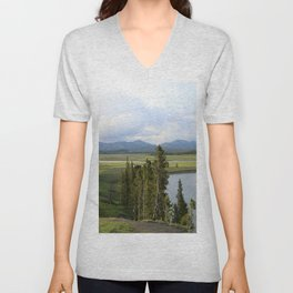 Yellowstone River Valley View Unisex V-Neck
