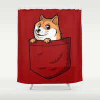 doge Shower Curtains featuring Pocket Shibe (Shiba Inu, Doge) by Tabner's