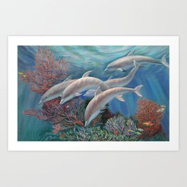 Happy Family - Dolphins Are Awesome Art Print