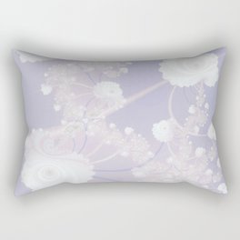 Abstract White Roses and Light Violet Purple Rectangular Pillow