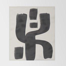 Mid Century Modern Minimalist Abstract Art Brush Strokes Black & White Ink Art Alien Symbol Pattern Throw Blanket