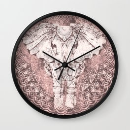 Bohemian, Elephant, Mandala, Blush, Moon Wall Clock