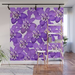 Purple wildflowers on a white background - spring atmosphere #decor #society6 #buyart Wall Mural