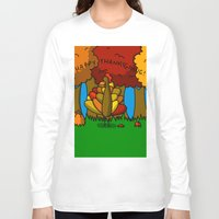 thanksgiving Long Sleeve T-shirts featuring Happy Thanksgiving! by Veronica Nagorny