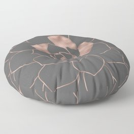 Rosegold  blossom on grey - Pink metal - effect flower Floor Pillow