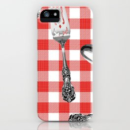 Utensils on Red Picnic Blanket iPhone Case