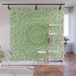 Olive Lime Green Mandala Detailed Ethnic Tribal Pattern Wall Mural
