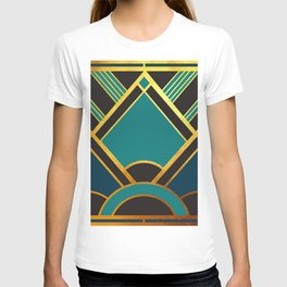 Art Deco New Tomorrow In Turquoise T-shirt