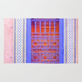 Colorful Moroccan Door in Marrakech Blue and Purple Rug