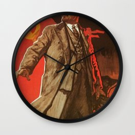 Lenin will live forever! 1967 communist poster about the Soviet Union Wall Clock