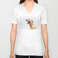 golden retriever V-neck T-shirts featuring Golden Retriever Dog Yawning by Limitless Design
