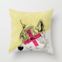 techno Throw Pillows featuring Techno Wolf by Zeke Tucker