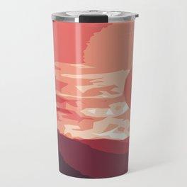 Burning sunset, splendid mountain landscape in pink shades Travel Mug