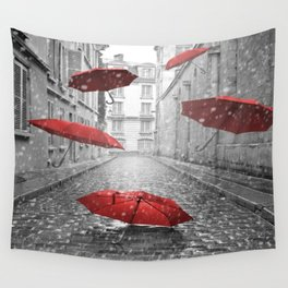 red umbrellas Wall Tapestry