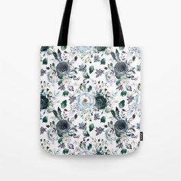 Botanical navy blue gray green watercolor peonies motif Tote Bag