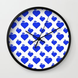 Crown Heart Pattern Blue Wall Clock