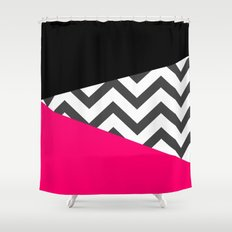 Color Blocked Chevron 8 Shower Curtain