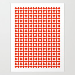 White and Scarlet Red Diamonds Art Print