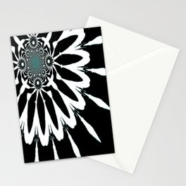 The Modern Flower Black White Blue Stationery Cards