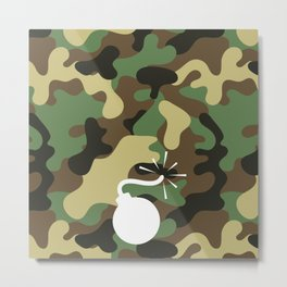 BOMB - CAMO & WHITE Metal Print