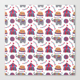 Colorful red blue gray watercolor elephant circus pattern Canvas Print