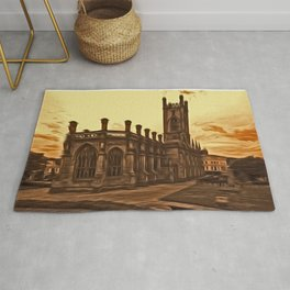 WW2 Bombed out Church Liverpool (Digital Art) Rug