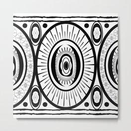 Black and White Oval Egg Metal Print