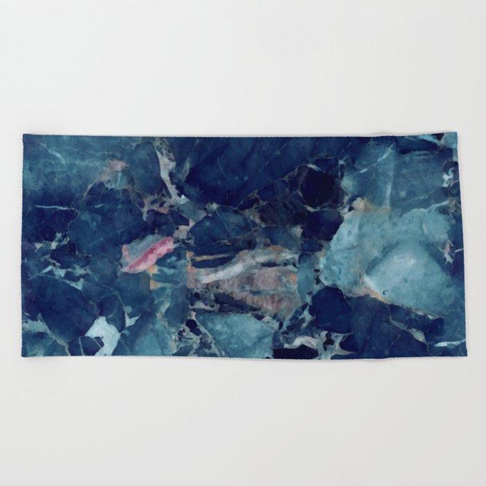 Blue marble texture Beach Towel