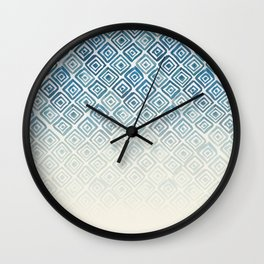 Ombre Watercolor Triangle Pattern (Blue) Wall Clock