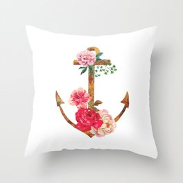floral rusted anchor Throw Pillow