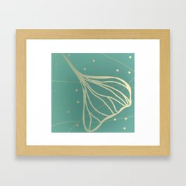 Ginkgo Leaf - Teal Dream Framed Art Print