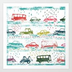 cars in the rain Art Print