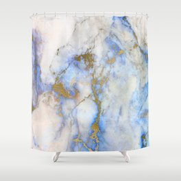 Gold And Blue Marble Shower Curtain